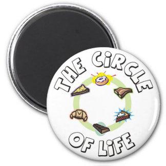 Kreis des Lebens: Nahrung, Mahlzeit, Abendessen Runder Magnet 5,1 Cm