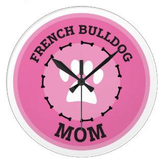 Kreis-französische Bulldoggen-Mamma-Abzeichen Große Wanduhr