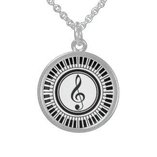 Kreis-Klavier-Schlüssel und dreifacher Clef Sterling Silberkette