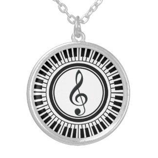 Kreis-Klavier-Schlüssel und dreifacher Clef Versilberte Kette