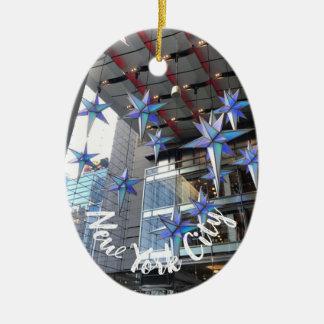 Kreis-Weihnachten New York City Columbus spielt Keramik Ornament