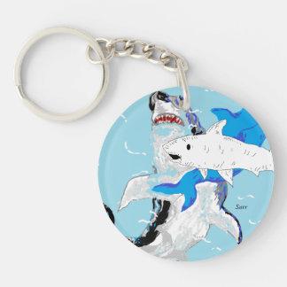 Kreisen Sie (doppelseitige) Keychain Haifische ein Schlüsselanhänger