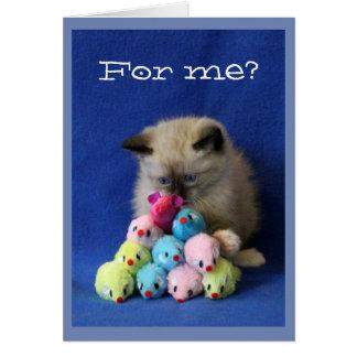 Kreuz-Mit Augen Kätzchen mit Spielzeug-Mäusen Karte