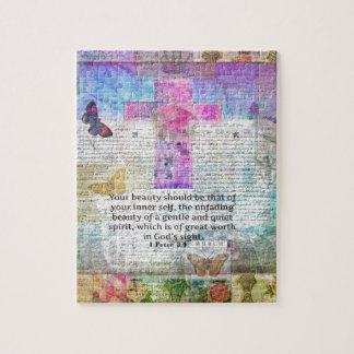 Kreuz, Schrifts-Kunst, Bibel-Vers-Kunst-Glaube Puzzle