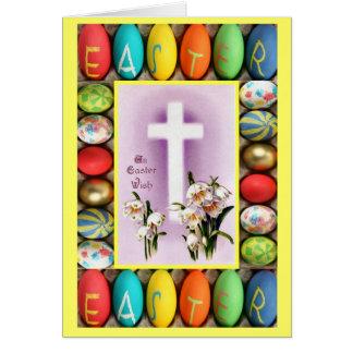 Kreuz und Osterlilien Karte