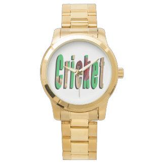 Kricket-Spiel-Logo, große Unisexgolduhr Armbanduhr