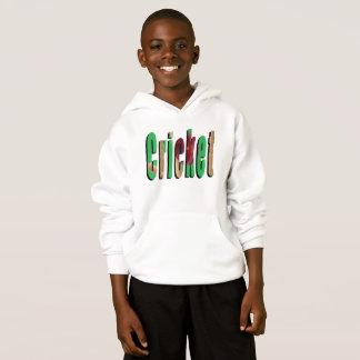Kricket-Spiel-Logo, Jungen-WeißHoodie Hoodie