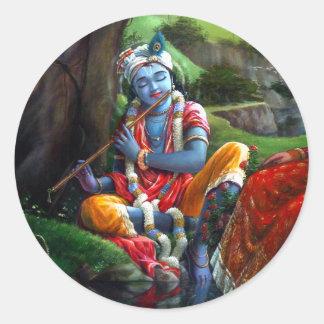 Krishna Malerei (indische Mythologie) Runder Aufkleber