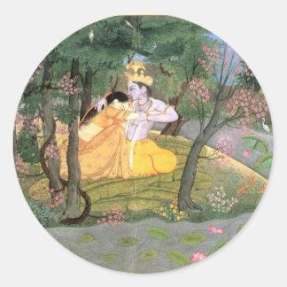 Krishna und Radha Runder Aufkleber