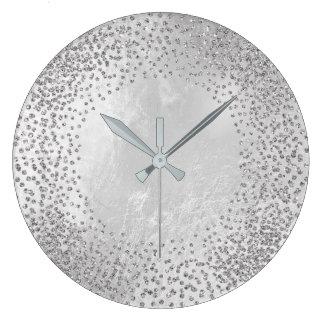 Kristalleconfetti-Glitzer-graues silbernes Große Wanduhr