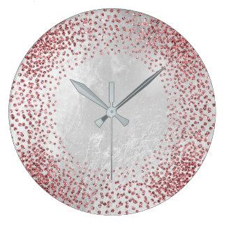 Kristalleconfetti-Glitzer-Rosen-Rosa-silbernes Große Wanduhr