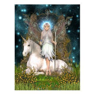 Kristallfee-und Einhorn-Postkarte Postkarte