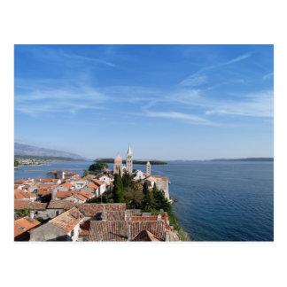 Kroatien-, Rabinsel und Stadt Postkarte
