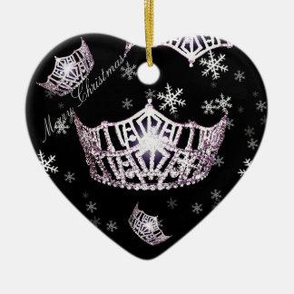 Kronen-Weihnachtsverzierung Miss Amerikas silberne Keramik Ornament