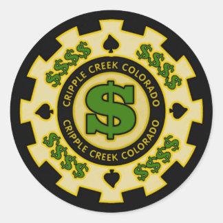 Krüppel-Nebenfluss-Colorado-Poker-Chip Runder Aufkleber