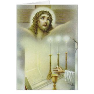 Kruzifixmassen-anbietenChalice leuchtet Priester Karte