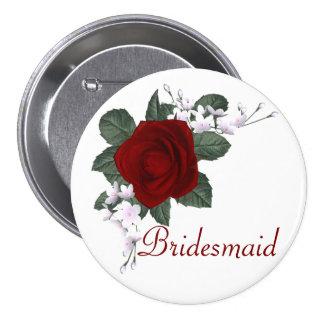 KRW-Rosen-Brautjungfern-Hochzeits-Button Runder Button 7,6 Cm