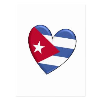 Kuba-Herz-Flagge Postkarte