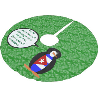 Kubanischer Feiertags-Herr Penguin Polyester Weihnachtsbaumdecke