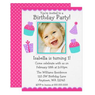 Kuchen-1. Geburtstags-Mädchen-Foto-Einladung 12,7 X 17,8 Cm Einladungskarte