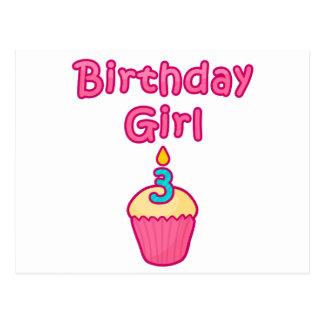 Kuchen-Geburtstags-Mädchen 3 Postkarte
