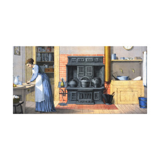 Küchen-Szenen-Vintage Malerei Galerie Faltleinwand