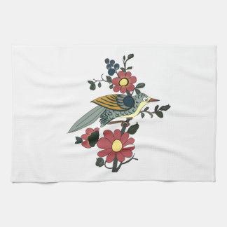 Küchen-Tuch mit Vogel und Blume Handtuch
