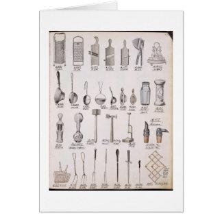 Küchengeräte, von einem Geschäftskatalog von Grußkarte