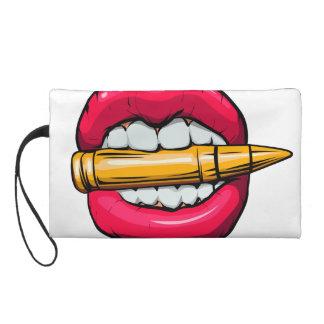 Kugel im Mund Wristlet Handtasche