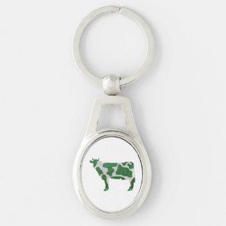 Kuh-grüne und weiße Silhouette Schlüsselanhänger