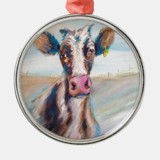 Kuh in der Weide Rundes Silberfarbenes Ornament