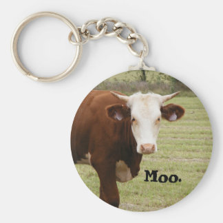 """Kuh keychain: """"MOO. """" Schlüsselanhänger"""
