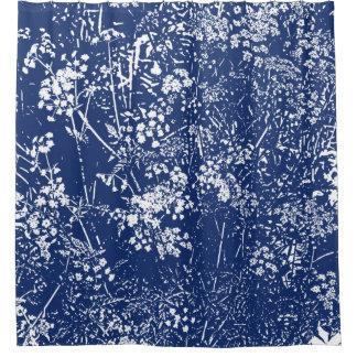 Kuh-Petersilie Cyanotype Art Duschvorhang