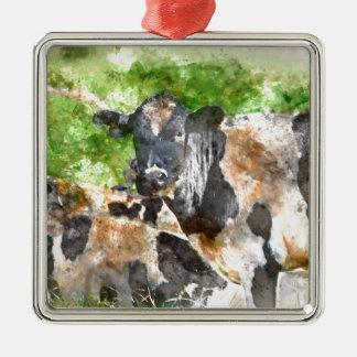 Kühe auf dem Gebiet Quadratisches Silberfarbenes Ornament