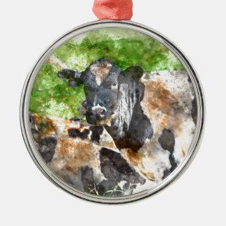 Kühe auf dem Gebiet Rundes Silberfarbenes Ornament