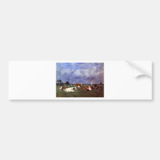 Kühe in der Weide durch Eugene Boudin Autoaufkleber