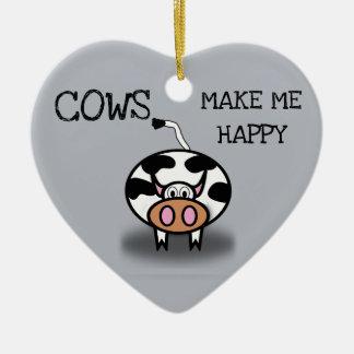 Kühe machen mich glücklich keramik ornament