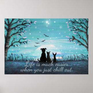 Kühlen Sie heraus Winter-Sonnenuntergang Poster