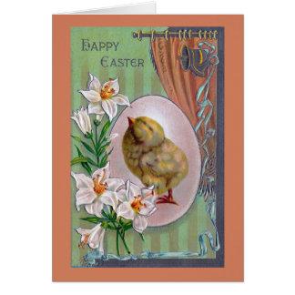 Küken, Ei und Osterlilien Karte