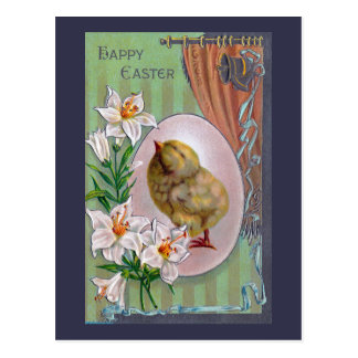 Küken, Osterei und weiße Lilien Postkarte