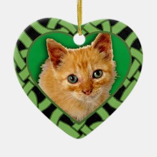 Kundengebundenes Haustier-Foto auf Herz-geformter Keramik Herz-Ornament