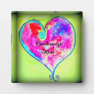 kundengebundenes rosa Wirbles Herz Fotoplatte