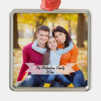Kundengerechte Familien-Foto-Weihnachtsverzierung Silbernes Ornament