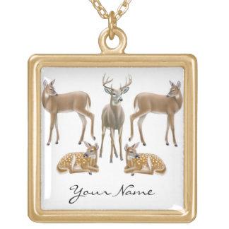 Kundengerechte Weißwedelhirsch-Halskette Vergoldete Kette