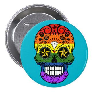 Kundengerechter Gay Pride-Regenbogen-Zuckerschädel Runder Button 7,6 Cm
