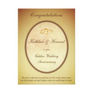 Kundengerechter goldener Hochzeitstag Galerie Falt Leinwand