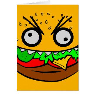 kundengerechter OM nom nom Burger mit Zahngesicht Karte