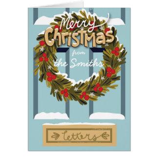 kundengerechter Weihnachtskarten-Tür-Kranz Karte