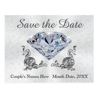 Kundenspezifische Diamant-Hochzeits-Save the Date Postkarte