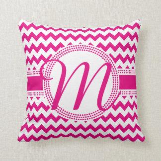 Kundenspezifische Farbkursivmonogramm-Pink und Kissen